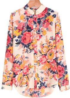 Red Long Sleeve Floral Chiffon Blouse 11.90