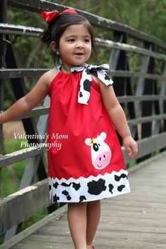 Super Cute Girl Cow farm pillowcase dress or Halter style dress - kiddie clothes - Kids Style