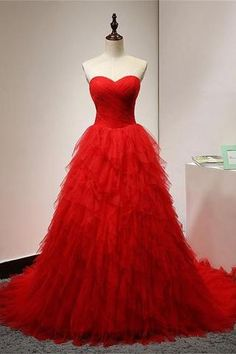 Red organza sweetheart A-line long prom dresses,evening dresses for teens