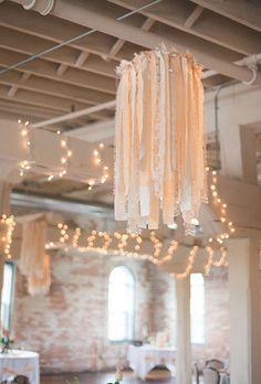 Cloth lantern lighting wedding decoration DIY hula-hoop fabric strips