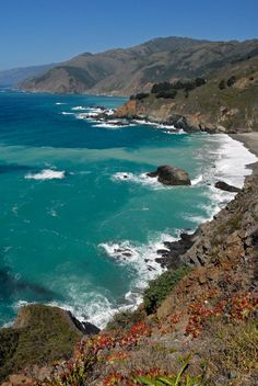 CALIFORNIA - is my home state! ice cold spectacular Pacific Ocean near Julia Pfeiffer Burns State Park! Vacation Places, Vacation Spots, Places To Travel, Places To See, Dream Vacations, Big Sur California, California Coast, Big Sur Coastline, California Wildflowers