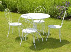 White Garden Furniture Set with Bistro Table Metal Five Pieces in Garden & Patio, Garden & Patio Furniture, Furniture Sets | eBay