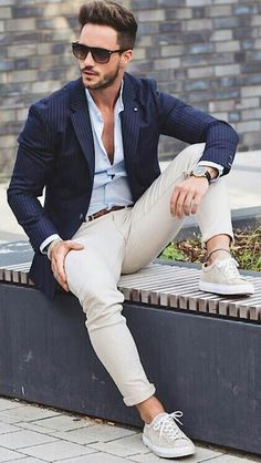 080532cd15cb7 with a navy striped blazer light blue banded collar shirt brown woven belt  light brown trousers wrist accessories sunglasses watch no show socks brown  suede ...