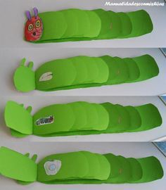 Make your own The Very Hungry Caterpillar book - Eric Carle The Very Hungry Caterpillar Activities, Caterpillar Book, Caterpillar Preschool, Eric Carle, Classroom Activities, Activities For Kids, Chenille Affamée, Book Making, Book Crafts