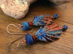Items similar to The Blue Grotto - wearable art polymer clay lapis lazuli jasper textured rustic blue terracotta shell earrings. on Etsy Fabric Earrings, Shell Earrings, Crochet Earrings, Clay Jewelry, Jewelry Art, Jewellery, Rustic Blue, Precious Metal Clay, Etsy Uk