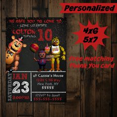 five nights at freddys invitation - printable - five nights at freddys birthday invitation - five nights at freddys birthday party by PurplePalaceDesigns on Etsy