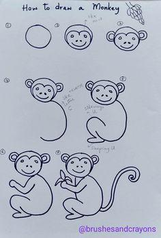 Chalk Drawings, Art Drawings For Kids, Drawing For Kids, Easy Drawings, Monkey Drawing Easy, Panda Drawing, Drawing Skills, Drawing Lessons, Line Drawing