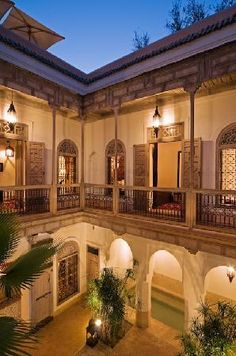 Superb four bedroom Marrakech riad hotel for sale with stunning architecture - and a pool and a hammam - designed by Christophe Simeone. Mediterranean Style Homes, Spanish Style Homes, Mediterranean Architecture, Riad Marrakech, Casa Patio, Villa, Moroccan Interiors, Hacienda Style, Courtyard House