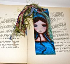 Mermaid with a Dove   Laminated Bookmark  Handmade  by FlorLarios, $8.00