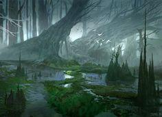 O novo pantano, criado com as águas que escorreram do aqueduto e inundaram a floresta e a planície de grama.