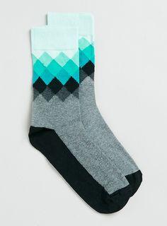 Grey diamond design socks