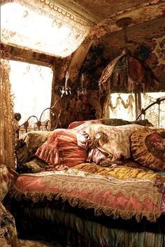 Caravan Gypsy Vardo Wagon: The interior of a #Bohemian camper, owned by Magnolia Pearl.