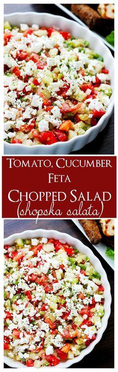 Tomato, Cucumber, Feta Chopped Salad (Shopska Salata)   www.diethood.com   The Macedonian version of a chopped salad with cucumbers, tomatoes, onions, peppers and white [feta] cheese.