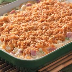 Crunch Top Ham and Potato Casserole Recipe: just assemble & bake. Perfect potluck dish, especially for an Easter gathering.