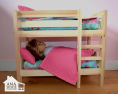 Make your own doll bed for American Girl Doll or other Doll. This sturdy wood doll bed is quick and easy and inexpensive to make. Free step by step plans to DIY a doll bed for your American Girl. Diy Doll Bunk Bed, Girls Bunk Beds, Doll Beds, Diy Bunkbeds, Twin Beds, Diy Furniture Plans, Doll Furniture, Kids Furniture, Ag Dolls