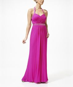 Take a look at this Nina Austin Lipstick Pink Embellished Silk Halter Dress - Women on zulily today!