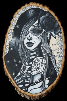 """Day of the Dead Tattoo art SATIN PAPER PRINT lowbrow Gothic Art """" Ghostflower"""" Dia De Los Muertos Pin up Girl  black and white Sugar Skulls"""