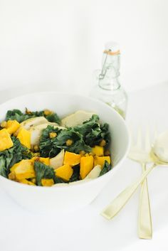 Fall Kale Salad With Crispy Chickpeas + Butternut Squash | theglitterguide.com