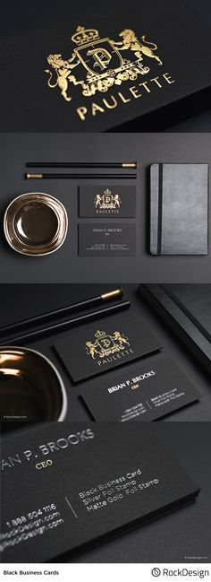 When utilizing high quality products, simplicity is always anexcellent way to go. Our Paulette template is a beautiful take on a classic business card layout, capturing a truly elegant design by combining our flawless matte gold with our exquisite regular Foil Business Cards, Business Cards Layout, Luxury Business Cards, Black Business Card, Elegant Business Cards, Professional Business Cards, High Quality Business Cards, Business Design, Corporate Design