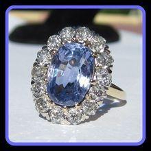 Antique Sapphire (4cts) & Diamond Ring,  14K Gold, Engagement