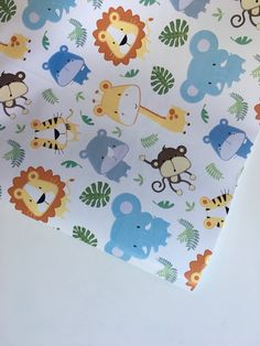 Animal Wrapping Paper 30 inches x 12 feet baby by PetalandForrest