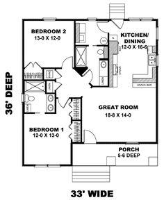 First Floor Plan of Craftsman   House Plan 64576