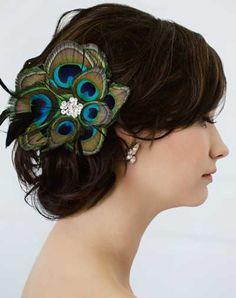 Peacock feather hair clip //