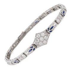 Art Deco Sapphire Diamond Gold Bracelet
