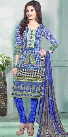 Enticing Blue Crepe Printed Salwar Suit.