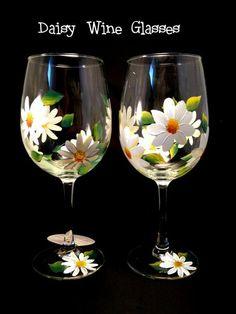 Hand Painted Wine Glasses White Daisies by Brusheswithaview, Wine Glass Crafts, Wine Craft, Wine Bottle Crafts, Decorated Wine Glasses, Hand Painted Wine Glasses, Painting On Wine Glasses, Bottle Painting, Bottle Art, Wine Bottle Glasses