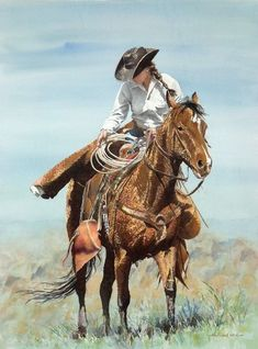 """""""Girl From Sombrero Ranch"""" Israel Holloway Cowgirl And Horse, Cowboy Art, Cowboy Pics, Illustrations, Illustration Art, Westerns, Woman Riding Horse, Vintage Cowgirl, Cowboy Christmas"""