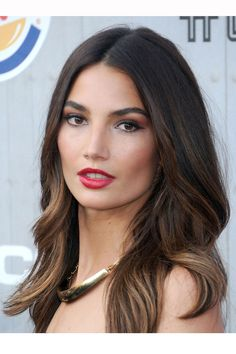 Lily Aldridge| Hair Highlights, whisper-soft toffee tips on a rich espresso base