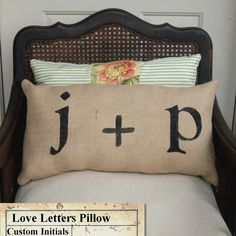 Love Letters  Burlap Pillow   Feedsack Style  by nextdoortoheaven, $35.00