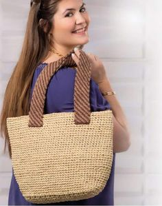 Crochet Tote, Crochet Stitches, Knit Crochet, Free Knitting, Knitting Patterns, Crochet Patterns, Summer Tote Bags, Knitted Bags, Straw Bag