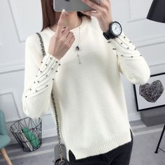 Check it on our site 2017 new spring Korean Short all-match winter sweater knitted shirt with long sleeves and loose women just only $15.28 with free shipping worldwide  #womansweaters Plese click on picture to see our special price for you