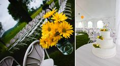 {Real Wedding} A Yellow & Gray Farm Celebration - yellow flowers pop against the white reception tent and add a spot of cheerfulness to a rainy day