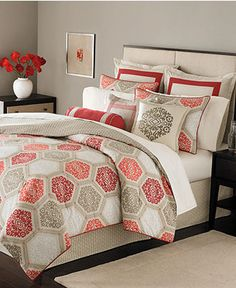 LOVE this comforter: coral, red, & taupe! Bought it today off eBay! So excited!