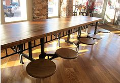 """Industrial Cafeteria Table 4-Seater / 8-Seater / 12-Seater--  30"""" X 96"""" for 8-seater, $3000.  Round swivel-out stools, reclaimed wood tops, cast iron."""