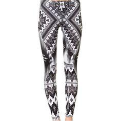 Ellekad - the black and white ethnic leggings (69 AUD) ❤ liked on Polyvore featuring pants, leggings, bottoms, pants/leggings, eden, white and black pants, black white pants, black white leggings, legging pants and black and white pants