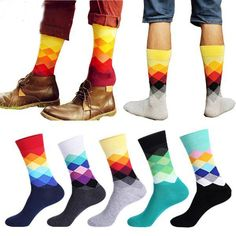 Cheap dress socks, Buy Quality socks diamond directly from China business socks Suppliers: Casual Mens Cotton Colorful Geometry Socks Harajuku Gradient Color Business Dress Socks Diamond Plaid Long Socks calcetines Plaid Fashion, Fashion Socks, Mens Fashion, Harajuku, Socks For Sale, Buy Socks, Socks Men, Striped Socks, Happy Socks