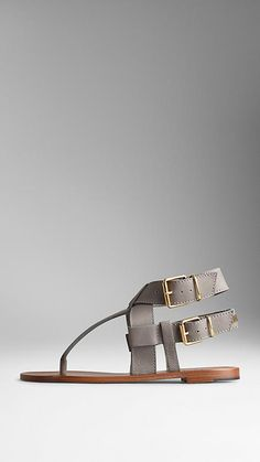 Buckle Detail Leather Sandals | Burberry
