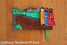 This craft will serve as a reminder of when Jesus appeared to these two disciples; proving that He truly resurrected from the dead. Instructions Print the template on card stock. (Template) Color a...
