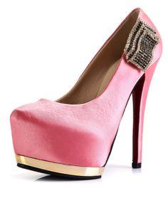 aac3310dc849 Fashion Pink High Heels Platform Decoration Red Bottom Shoes Pink High Heels