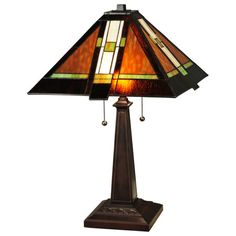 The Montana Mission table lamp is a beautiful stained glass accent for western furnishings. Log Cabin Decor and Western Ranch Decor - Discover the lodge influence in Cabin Decor and Western Decor with a southwestern flair. Craftsman Style Table, Craftsman Lamps, Mission Table, Mission Oak, Stained Glass Table Lamps, Tiffany Table Lamps, B 13, Western Decor, Rustic Decor