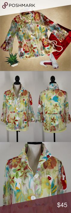 Damee New York Mesh Floral Jacket Size Small This jacket is super cute! It is perfect for spring picnics and dining out.  * Colors- Red. yellow, blue, white, green * Band around waist and hips flare * Mesh-like material * Wire in collar to wear up * Bell sleeves  * Stretchy  * 60% polyester / 40% rayon   This fun and flirty jacket was purchased in NYC at an upscale boutique- retailing for $135. It was worn once and is in stellar condition. Size Small.  Measurements are listed in comments…