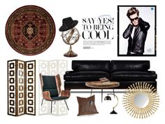 """""""Cool Guys Live Here"""" by pillowthrowdecor ❤ liked on Polyvore featuring interior, interiors, interior design, дом, home decor, interior decorating, Thrive, Nourison, mater и Eichholtz"""