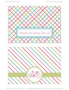 Bicycle Girl Sandwich Bag Label Printables