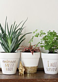 #DIY Gold Foil Lettering on Flower Pots. #make #made #gifts #kids #draw #paint #plants #mom #craft #holidays