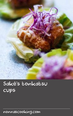 Saké's tonkatsu cups Lettuce Recipes, Pork Recipes, Baking Recipes, Japanese Recipes, Japanese Food, Side Pork, Sake Recipe, Starter Recipes