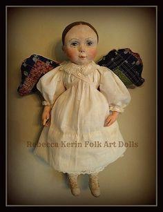 """Rebecca Kerin Folk Art Dolls ~ Sugarplum Angel w/detachable wings 20"""""""